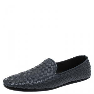 Bottega Veneta Blue Intrecciato Leather Smoking Slippers Size 40.5