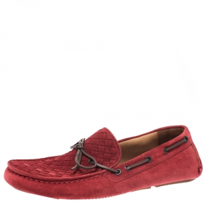 Bottega Veneta Red Intrecciato Suede Bow Slip On Loafers Size 42