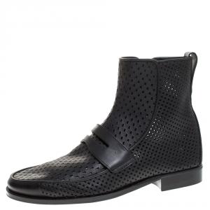 Bottega Veneta Black Perforated Leather Loafer Boots Size 40