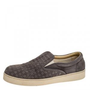 Bottega Veneta Grey Intrecciato Suede Slip On Sneakers Size 43