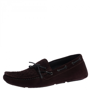 Bottega Veneta Burgundy Intrecciato Suede Leather Loafers Size 43