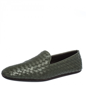 Bottega Veneta Green Intrecciato Leather Smoking Slippers Size 40.5
