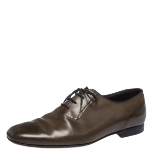 Bottega Veneta Brown Leather Brogue Oxfords Size 42