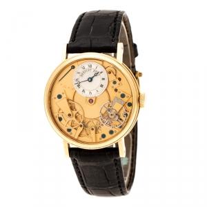 ساعة يد رجالية بريغيه تقليدية 7027 ذهب اصفر عيار 18 جلد فضية 38 مم