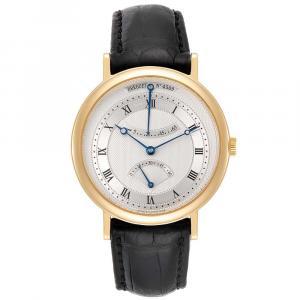 Breguet Silver 18K Yellow Gold Classique Retrograde 5207 Men's Wristwatch 39 MM