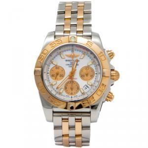 Breitling White 18K Rose Gold & Steel Chronomat Automatic Chronograph Tachymeter Men'S Watch 41MM