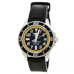 Breitling Black/Yellow Stainless Steel Superocean A17364 Men's Wristwatch 42 mm