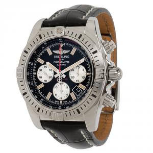 Breitling Black Stainless Steel and Leather Chronomat Airbourne AB0115 Men's Wristwatch 44MM
