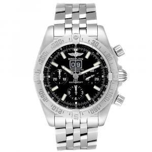 """ساعة يد رجالية بريتلينغ """"كرونومات بلاكبيرد 44359ايه"""" ستانلس ستيل سوداء 44 مم"""
