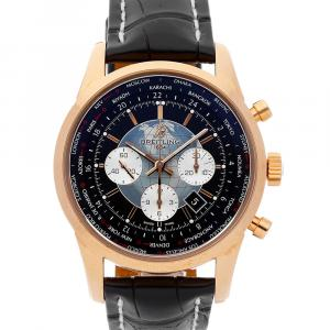 Breitling Black 18K Rose Gold Transocean Chrono Unitime RB0510U4/BB63 Men's Wristwatch 46 MM
