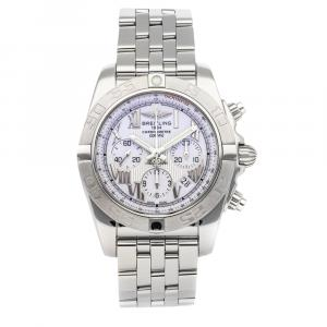 Breitling White Stainless Steel Chronomat Chronograph AB011011/A690 Men's Wristwatch 44 MM