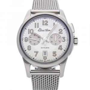 Breitling Silver Stainless Steel Transocean Chronograph 1915 Limited Edition Ab141112/G799 Men's Wristwatch 43 MM