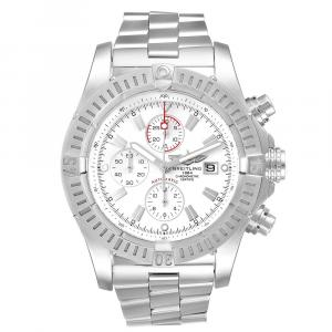Breitling Silver Stainless Steel Super Avenger Chronograph A13370 Men's Wristwatch 48 MM