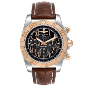 Breitling Black 18K Rose Gold And Stainless Steel Chronomat Evolution CB0110 Men's Wristwatch 45 MM