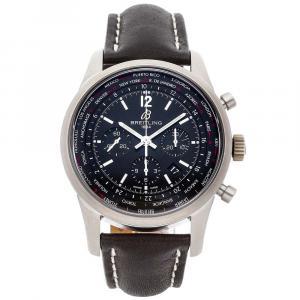 Breitling Black Stainless Steel Transocean Unitime Chronograph Pilot AB0510U6/BC26 Men's Wristwatch 46 MM