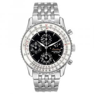 Breitling Black Stainless Steel Navitimer Monbrillant 1461 Jours Moonphase A19030 Men's Wristwatch 41.5 MM