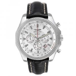 Breitling White Stainless Steel Bentley Barnato A25368 Men's Wristwatch 49 MM