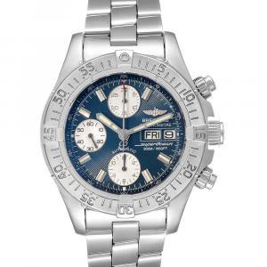 Breitling Blue Stainless Steel Aeromarine Superocean A13340 Men's Wristwatch 42 MM