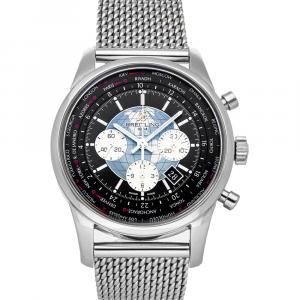 Breitling Black Stainless Steel Transocean Unitime Chronograph AB0510U4/BB62 Men's Wristwatch 46 MM