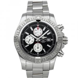 Breitling Black Stainless Steel Super Avenger II Chronograph A1337111/BC29 Men's Wristwatch 48 MM
