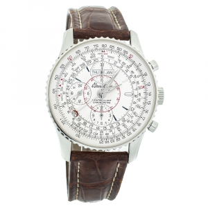 Breitling Silver Stainless Steel Leather Datora Montbrilliant Chronometer A21330 Men's Wristwatch 43 mm