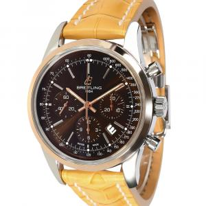 Breitling Brown 18K Rose Gold And Stainless Steel Transocean Chronograph UB015212/Q594 Men's Wristwatch 43 MM