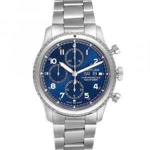 Breitling Blue Stainless Steel Navitimer Chronograph A13314 Men's Wristwatch 43 MM