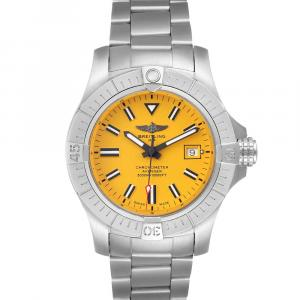 Breitling Yellow Stainless Steel Avenger Seawolf A17319 Men's Wristwatch 45 MM