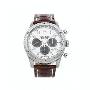 Breitling Silver Stainless Steel Navitimer Aviator 8 B01 Chronograph AB01171A1G1P1 Men's Wristwatch 43 MM
