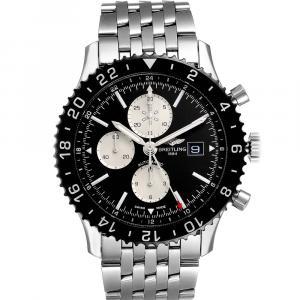 Breitling Black Stainless Steel Chronoliner Y24310 Men's Wristwatch 46 MM