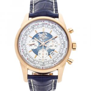 Breitling Silver 18K Rose Gold Transocean Chronograph Unitime RB0510U0/A733 Men's Wristwatch 46 MM