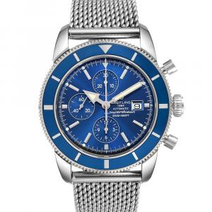 Breitling Blue Stainless Steel SuperOcean Heritage Chronograph A13320 Men's Wristwatch 46 MM