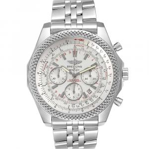 Breitling Silver Stainless Steel Bentley Motors Special Edition Chronograph A25364 Men's Wristwatch 49 MM