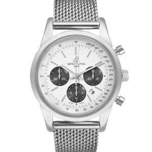 Breitling Silver Stainless Steel Transocean Chronograph AB0152 Men's Wristwatch 43 MM