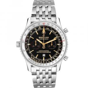 Breitling Black Stainless Steel Chronomatic Limited Edition A41350 Men's Wristwatch 41 MM