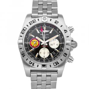Breitling Black Stainless Steel Chronomat GMT Patrouille Suisse Limited Edition AB04203J/BD29 Men's Wristwatch 44 MM