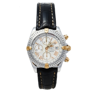 Breitling White 18K Yellow Gold Stainless Steel Leather Chronomat Evolution B13356 Men's Wristwatch 44 mm