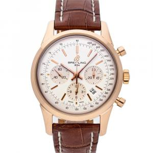 Breitling Silver 18K Rose Gold Transocean Chronograph RB015212/G738 Men's Wristwatch 43 MM