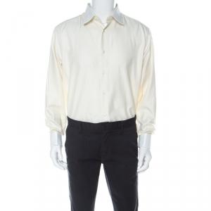 Brioni Cream Cotton Twill Button Front Shirt L