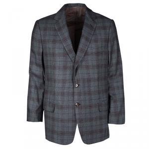Brioni Grey Plaid Cashmere Regular Fit Blazer 2XL