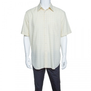 Brioni Pale Yellow Checkered Cotton Short Sleeve Button Front Shirt XXL - used