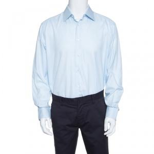 Brioni Light Blue Cotton Herringbone Pattern Long Sleeve Button Front Shirt 2XL