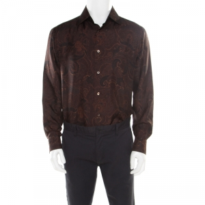 Brioni Brown Paisley Printed Silk Button Front Shirt L - used