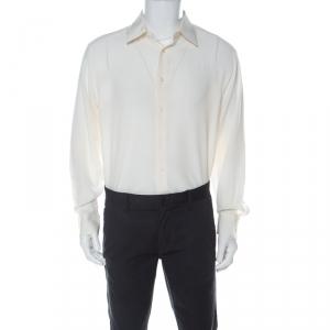 Brioni Cream Silk Button Front Shirt L