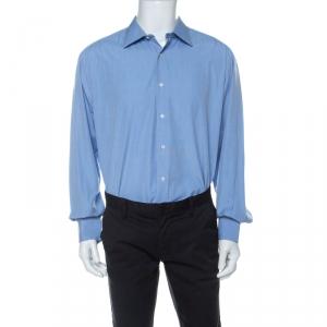 Brioni Blue Cotton Button Front Regular Fit Shirt XXXL - used