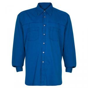 Brioni Men's Blue Cotton Shirt XL