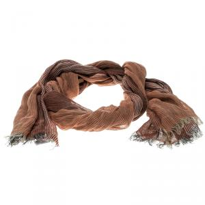 Brunello Cucinelli Brown Gradient Self Striped Linen Scarf