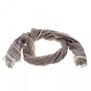 Brunello Cucinelli Brown Contrast Striped and Checked Linen Scarf