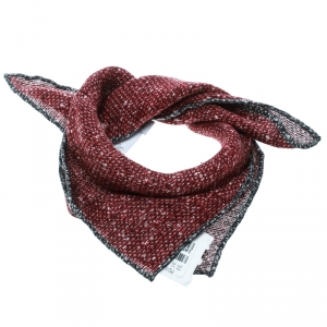 Brunello Cucinelli Red and Grey Reversible Printed Linen Pocket Square