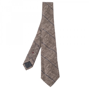 Brunello Cucinelli Beige Linen & Silk Diagonal Striped Tie